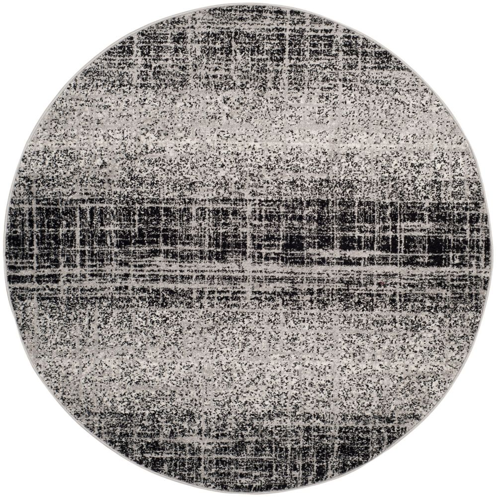 Safavieh Adirondack Janice Silver / Black 4 ft. x 4 ft. Indoor Round Area Rug