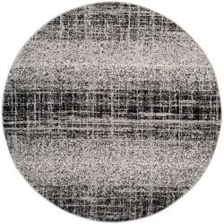 Safavieh Carpette d'intérieur, 4 pi x 4 pi, style contemporain, ronde, argent Adirondack