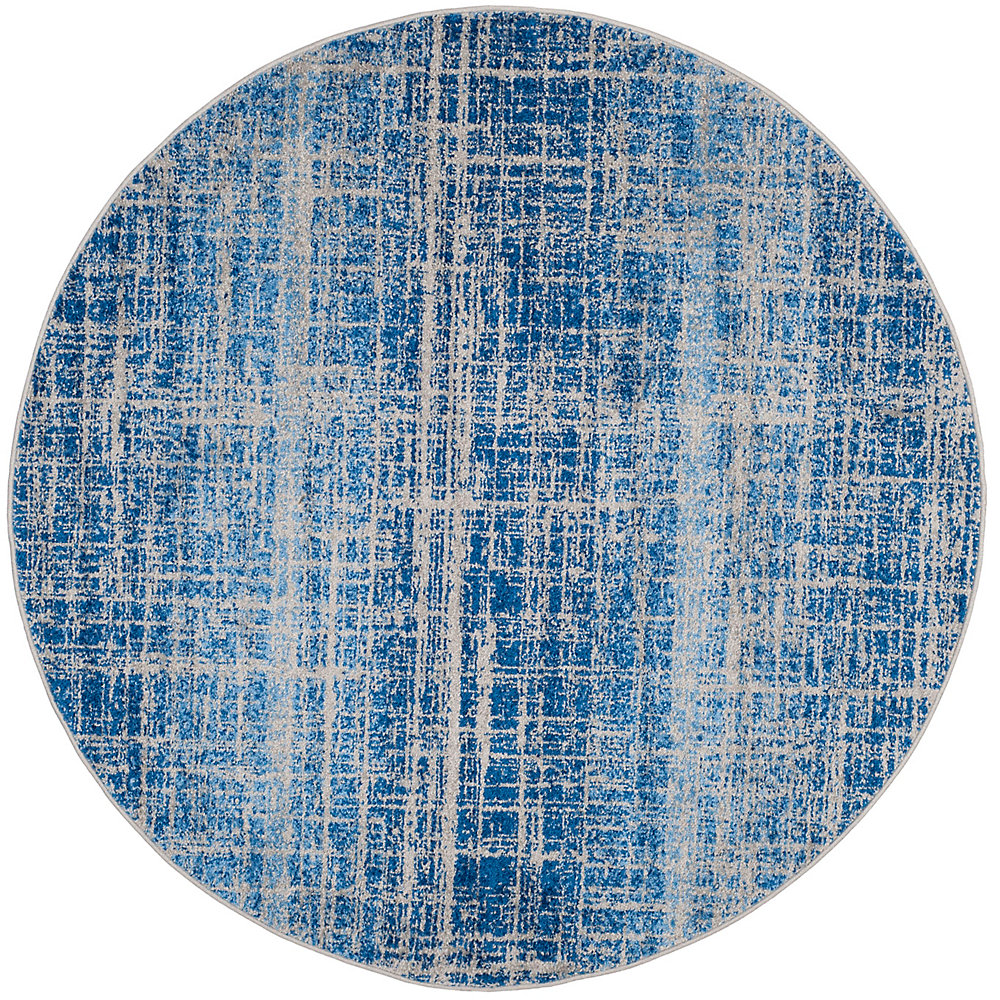 Adirondack Janice Blue / Silver 4 ft. x 4 ft. Indoor Round Area Rug