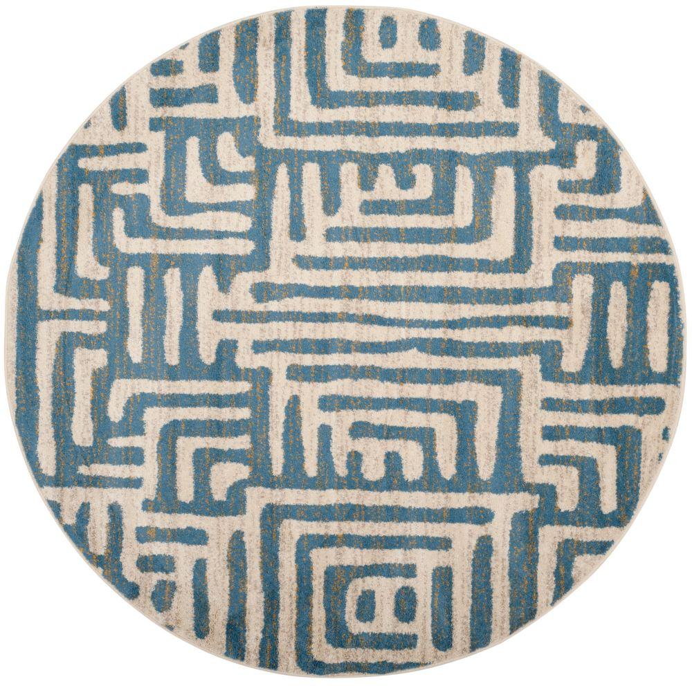 Safavieh Amsterdam Francesca Ivory / Light Blue 6 ft. 7 inch x 6 ft. 7 inch Indoor Round Area Rug