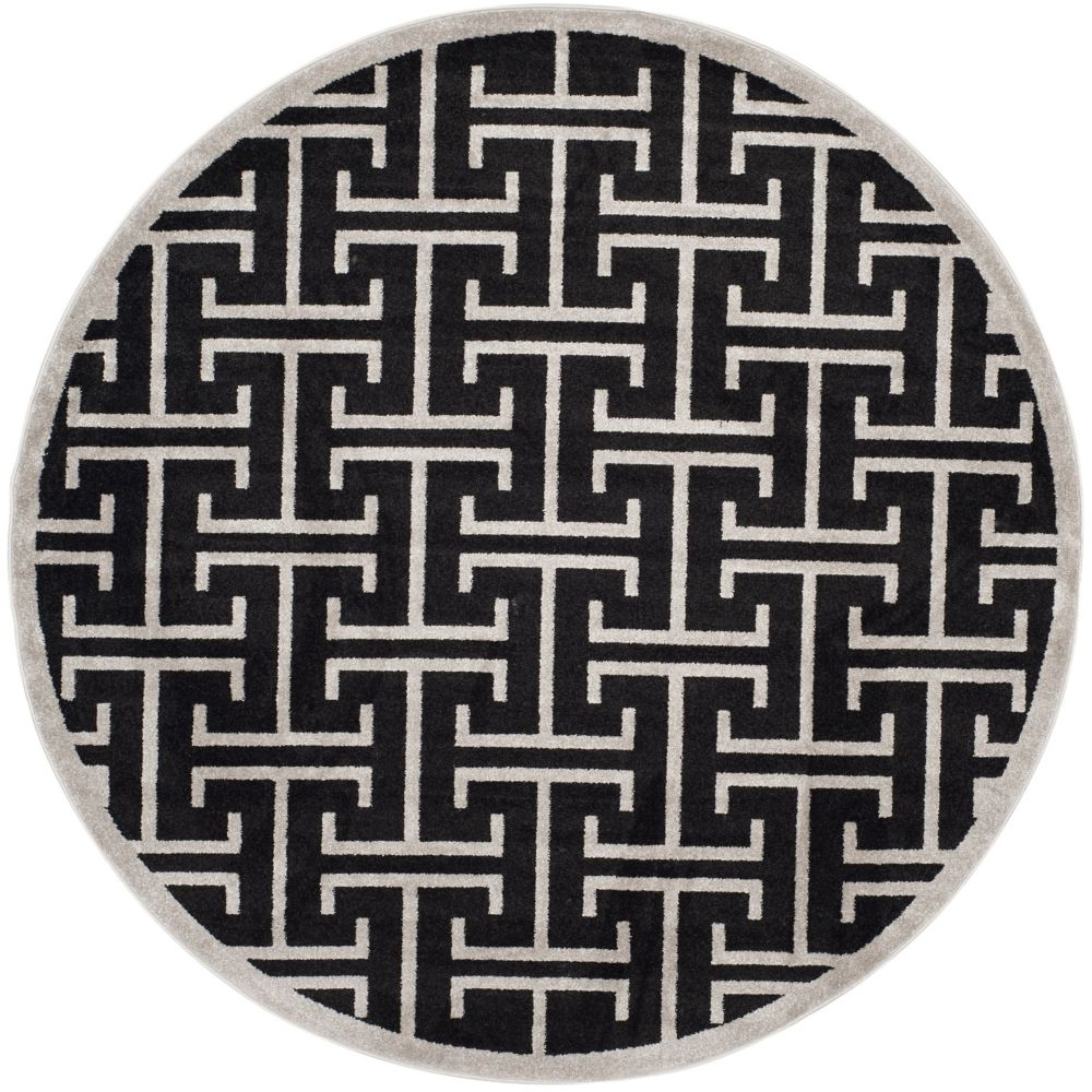 Safavieh Amherst Deborah Anthracite / Light Grey 7 ft. x 7 ft. Indoor/Outdoor Round Area Rug