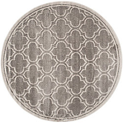 Safavieh Amherst Shirley Grey / Light Grey 5 ft. x 5 ft. Indoor/Outdoor Round Area Rug