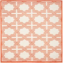 Safavieh Amherst Wilson Ivory / Orange 7 ft. x 7 ft. Indoor/Outdoor Square Area Rug