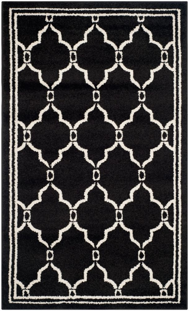 Safavieh Amherst Katie Anthracite / Ivory 3 ft. x 5 ft. Indoor/Outdoor Area Rug