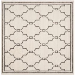 Safavieh Tapis d'intérieur/extérieur carré, 5 pi x 5 pi, Amherst Katie, ivoire / gris