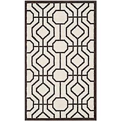 Safavieh Tapis d'intérieur/extérieur, 3 pi x 5 pi, Amherst Hayden, ivoire / brun