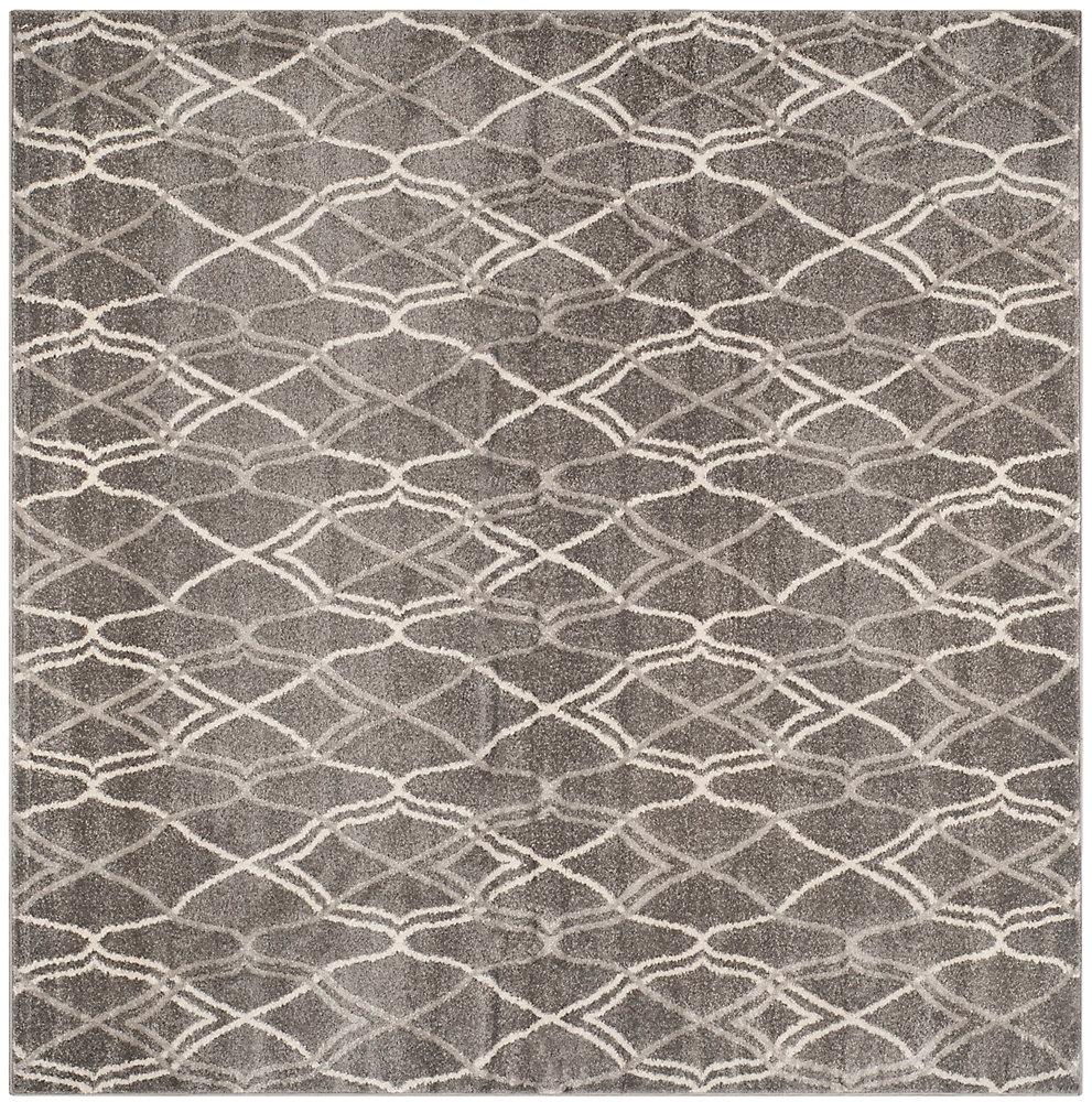 Tapis d'intérieur/extérieur carré, 7 pi x 7 pi, Amherst Claire, gris / gris clair