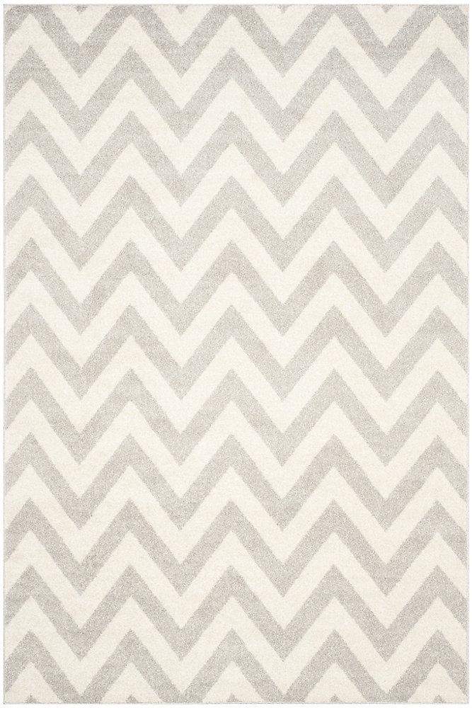 Tapis d'intérieur/extérieur, 4 pi x 6 pi, Amherst Paula, gris clair / beige
