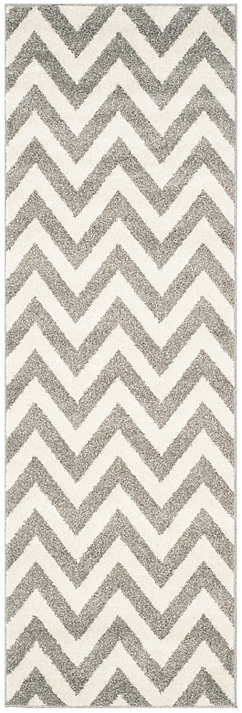 Amherst Paula Dark Grey / Beige 2 ft. 3 inch x 7 ft. Indoor/Outdoor Runner