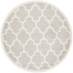 Amherst Light Grey Beige 7 Feet X Indoor Outdoor Round Area Rug