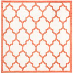 Safavieh Tapis d'intérieur/extérieur carré, 7 pi x 7 pi, Amherst Bradford, beige / orange