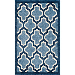 Safavieh Tapis d'intérieur/extérieur, 2 pi 6 po x 4 pi, Amherst Bradford, bleu clair / marin