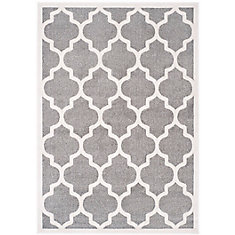 Amherst Bradford Dark Grey / Beige 5 ft. x 8 ft. Indoor/Outdoor Area Rug