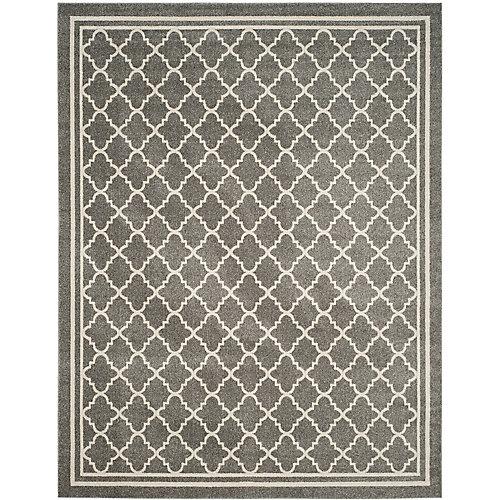 Tapis d'intérieur/extérieur, 8 pi x 10 pi, Amherst Blanche, dark gris / beige