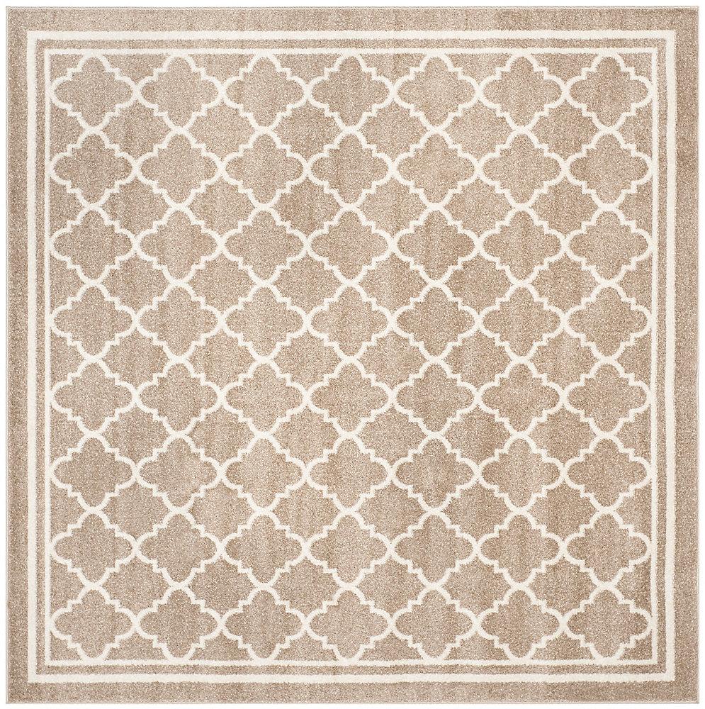 Tapis d'intérieur/extérieur carré, 5 pi x 5 pi, Amherst Blanche, blé / beige