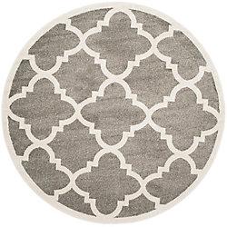 Safavieh Amherst Aidan Dark Grey / Beige 5 ft. x 5 ft. Indoor/Outdoor Round Area Rug