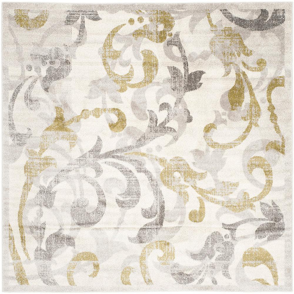 Tapis d'intérieur/extérieur carré, 7 pi x 7 pi, Amherst Elaine, ivoire / gris clair