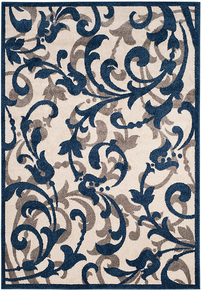 Amherst Elaine Ivory / Navy 4 ft. x 6 ft. Indoor/Outdoor Area Rug