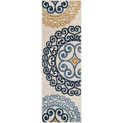 Safavieh Tapis de passage d'intérieur/extérieur, 2 pi 3 po x 7 pi, Amherst Frederick, ivoire / or