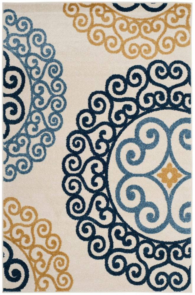 Safavieh Amherst Frederick Ivory / Gold 4 ft. x 6 ft. Indoor/Outdoor Area Rug