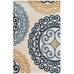 Safavieh Tapis d'intérieur/extérieur, 4 pi x 6 pi, Amherst Frederick, ivoire / or