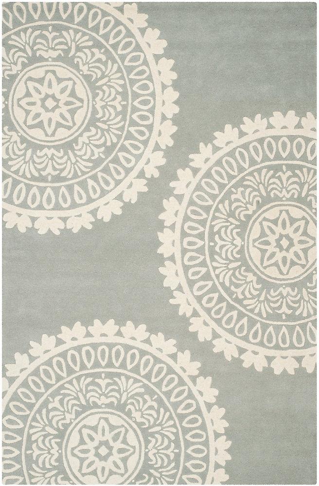 Tapis d'intérieur, 6 pi x 9 pi, Bella Alan, gris / ivoire