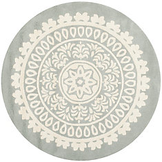 Bella Grey Ivory 7 Feet X Round Area Rug
