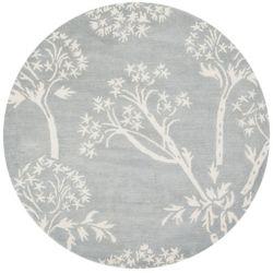 Safavieh Tapis d'intérieur rond, 5 pi x 5 pi, Bella Karen, bleu clair / ivoire