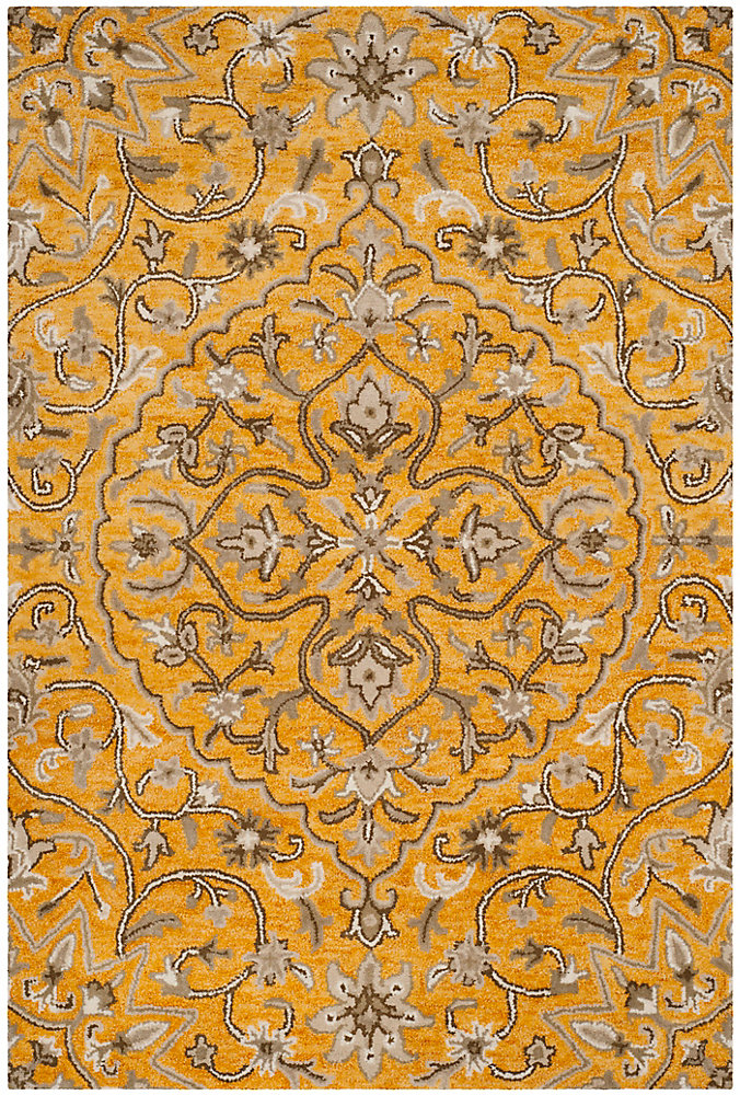 Bella Eason Gold / Taupe 5 ft. x 8 ft. Indoor Area Rug