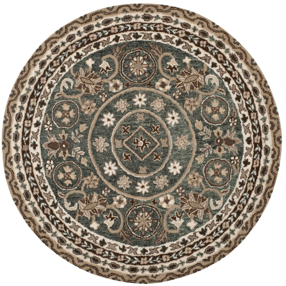Safavieh Bella Evette Grey / Taupe 5 ft. x 5 ft. Indoor Round Area Rug