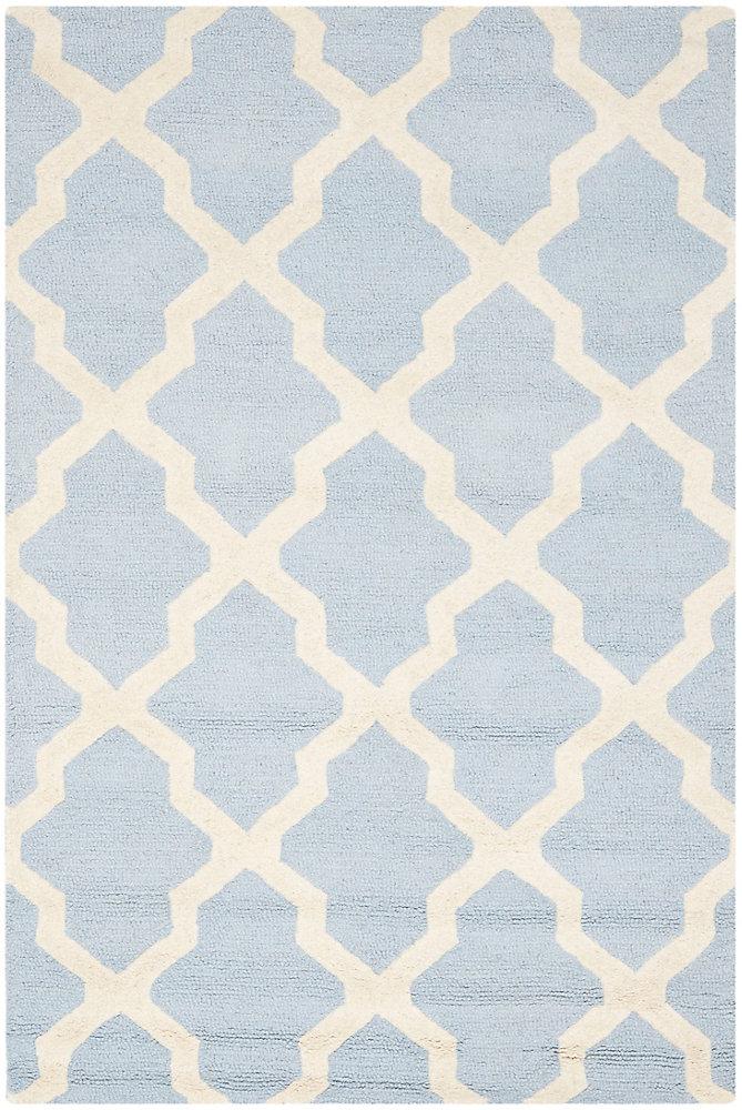 Tapis d'intérieur, 4 pi x 6 pi, Cambridge Giselle, bleu clair / ivoire
