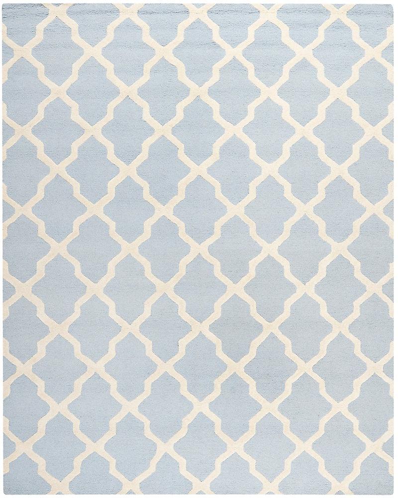 Tapis d'intérieur, 8 pi x 10 pi, Cambridge Giselle, bleu clair / ivoire