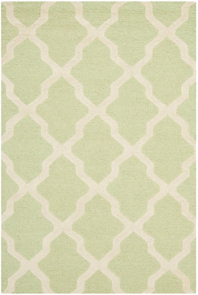 Tapis d'intérieur, 4 pi x 6 pi, Cambridge Giselle, vert clair / ivoire