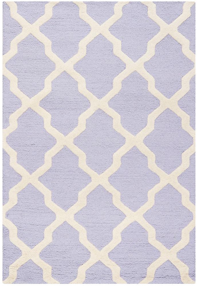 Tapis d'intérieur, 4 pi x 6 pi, Cambridge Giselle, lavande / ivoire