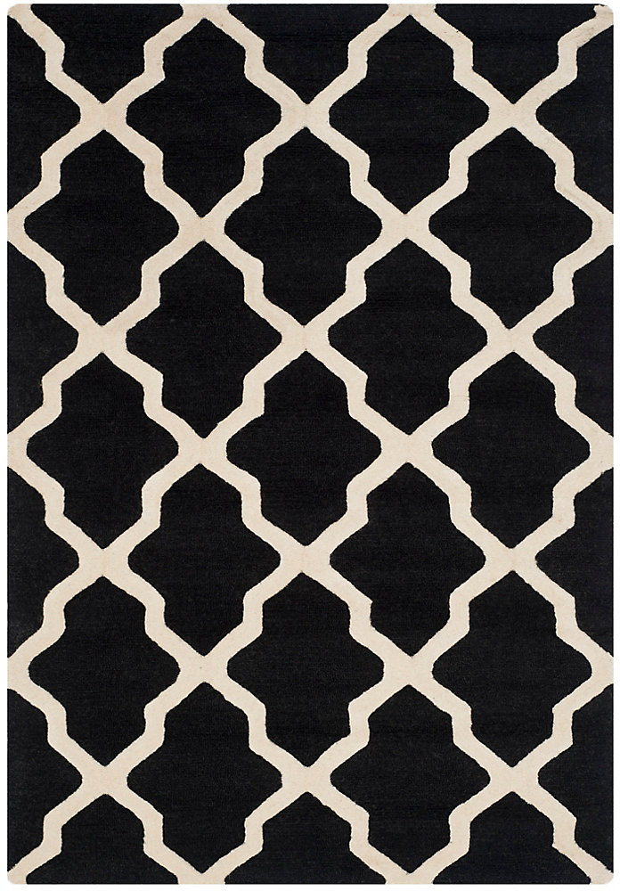 Tapis d'intérieur, 4 pi x 6 pi, Cambridge Giselle, noir / ivoire