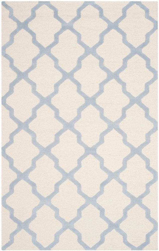 Tapis d'intérieur, 4 pi x 6 pi, Cambridge Giselle, ivoire / bleu clair