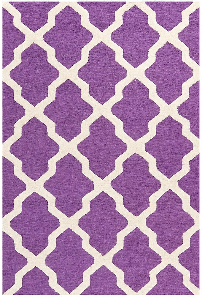 Tapis d'intérieur, 4 pi x 6 pi, Cambridge Giselle, violet / ivoire