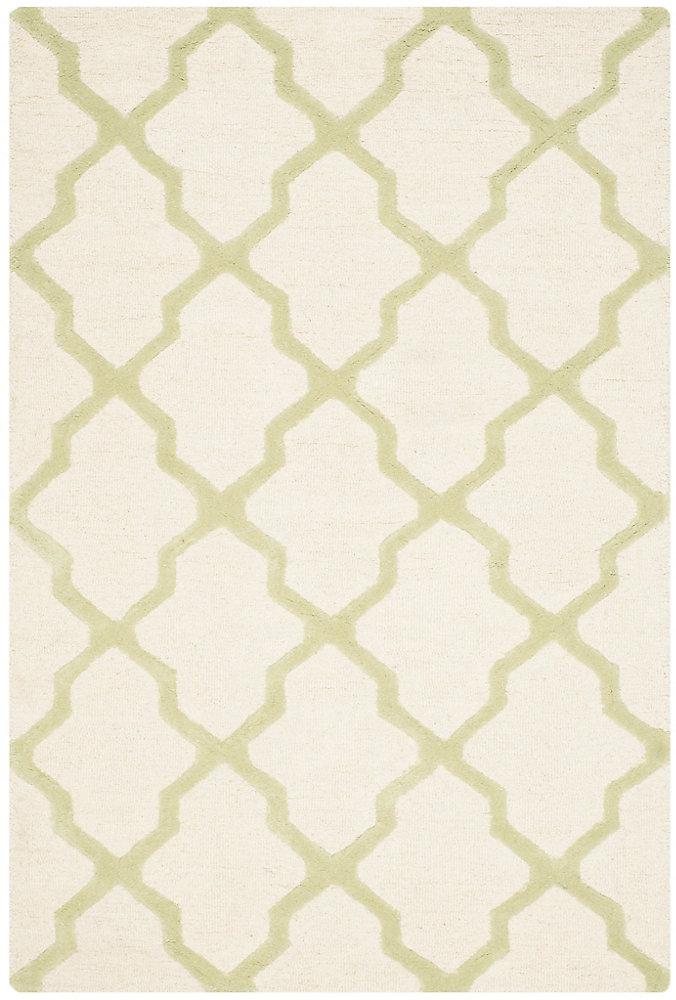 Tapis d'intérieur, 4 pi x 6 pi, Cambridge Giselle, ivoire / vert clair