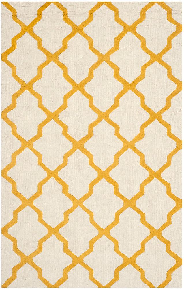 Tapis d'intérieur, 5 pi x 8 pi, Cambridge Giselle, ivoire / or