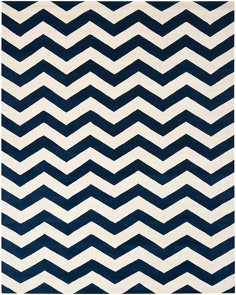 Tapis d'intérieur, 8 pi x 10 pi, Chatham Lara, bleu foncé / ivoire