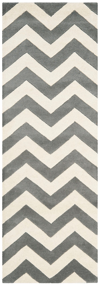Chatham Lara Dark Grey / Ivory 2 ft. 3 inch x 15 ft. Indoor Runner