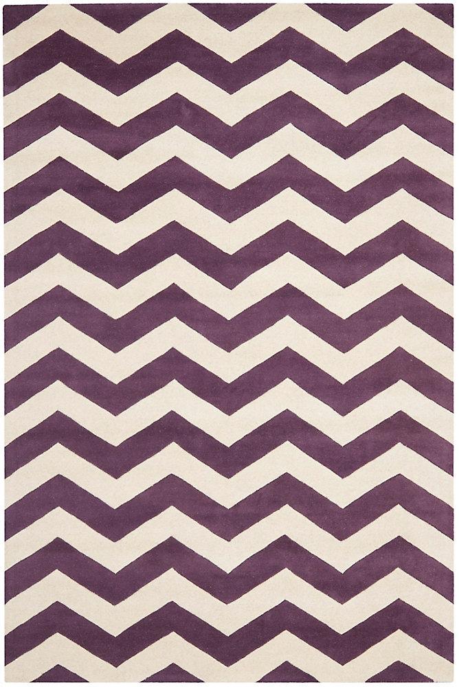 Tapis d'intérieur, 6 pi x 9 pi, Chatham Lara, violet / ivoire