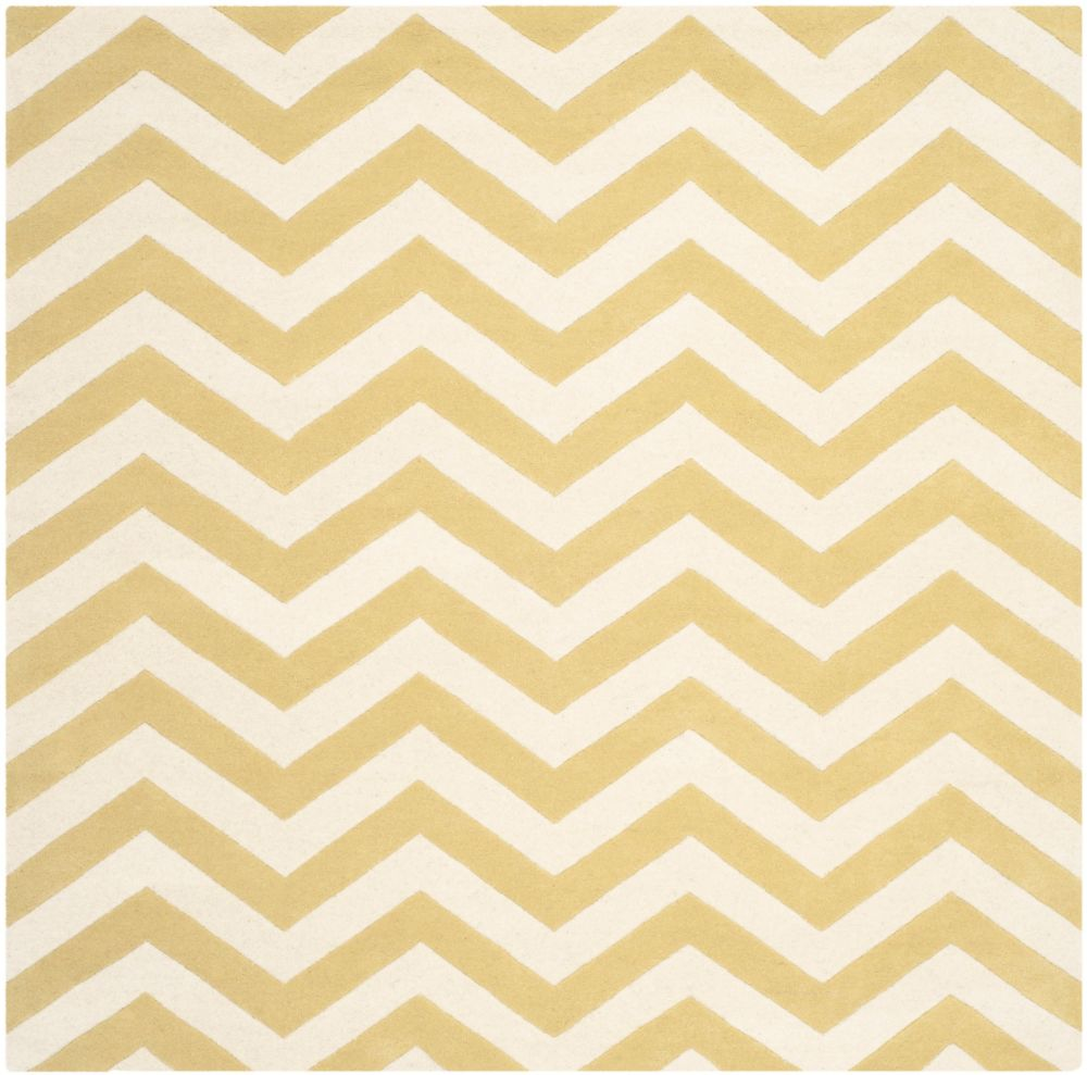 Safavieh Chatham Lara Light Gold / Ivory 5 ft. x 5 ft. Indoor Square Area Rug