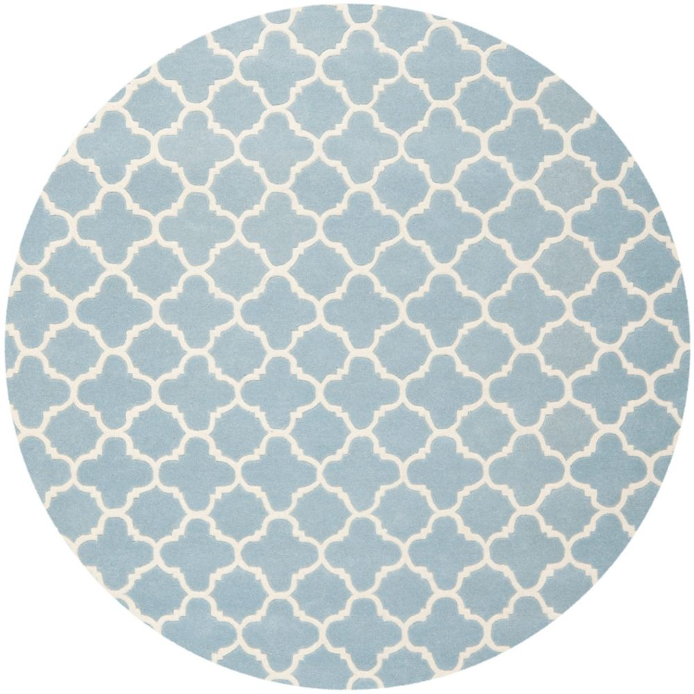 Safavieh Chatham Leslie Blue / Ivory 7 ft. x 7 ft. Indoor Round Area Rug