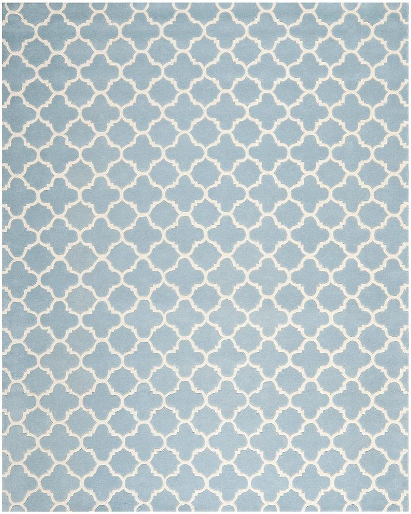 Tapis d'intérieur, 8 pi x 10 pi, Chatham Leslie, bleu / ivoire