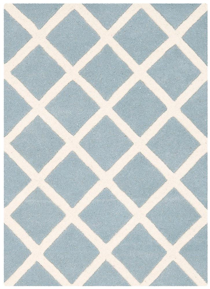 Tapis d'intérieur, 2 pi x 3 pi, Chatham Lily, bleu / ivoire