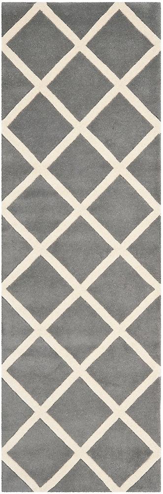 Tapis de passage d'intérieur, 2 pi 3 po x 7 pi, Chatham Peter, dark gris / ivoire