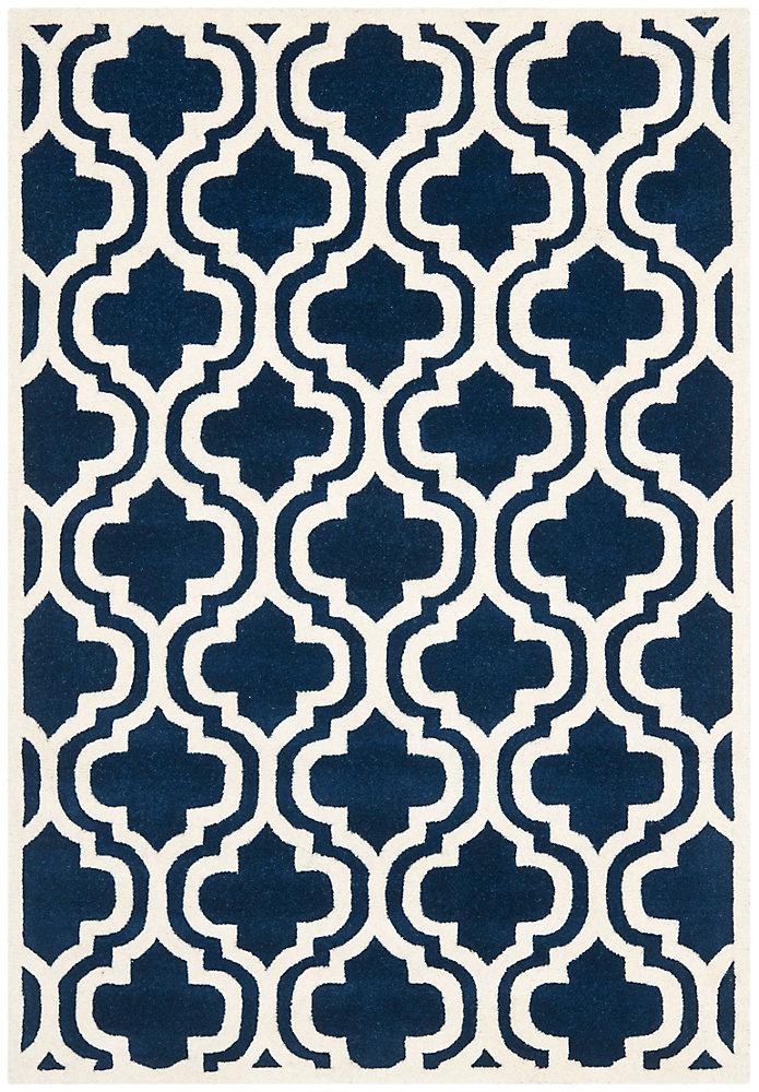 Tapis d'intérieur, 4 pi x 6 pi, Chatham Robin, bleu foncé / ivoire