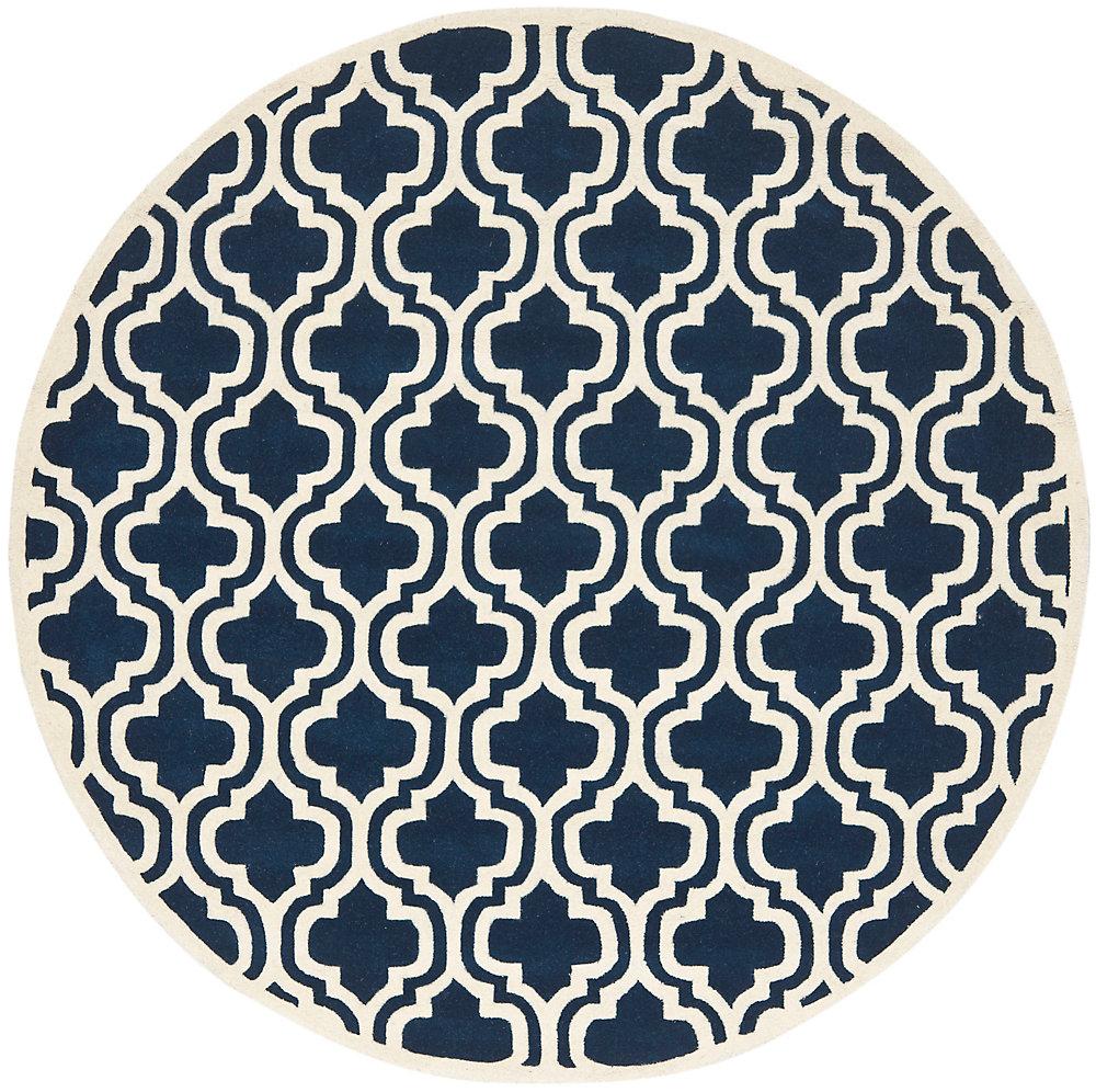 Tapis d'intérieur rond, 7 pi x 7 pi, Chatham Robin, bleu foncé / ivoire
