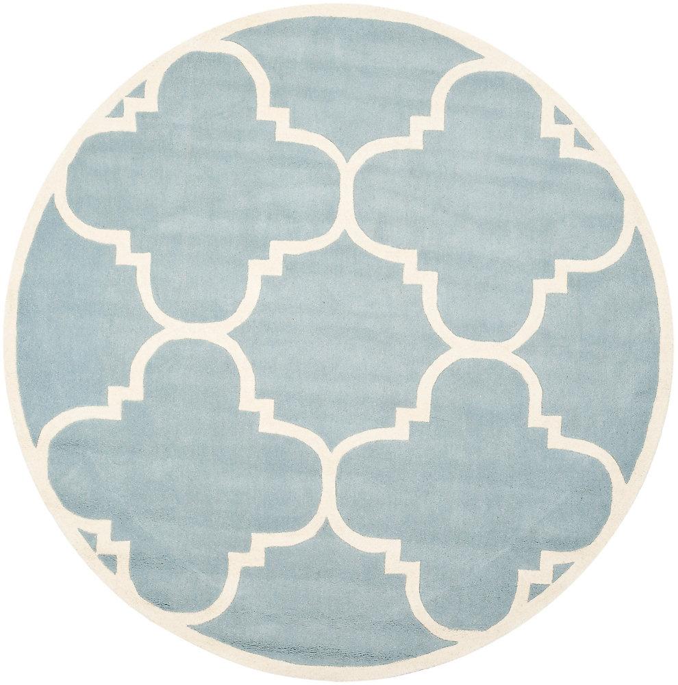 Tapis d'intérieur rond, 7 pi x 7 pi, Chatham Abe, bleu / ivoire